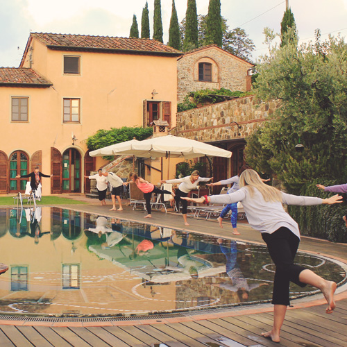 Yoga by the Pool in Tuscany