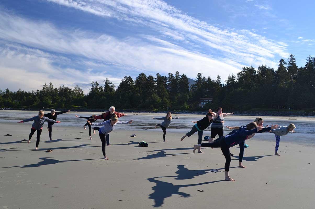 Yoga on Chesterman Beach Tofino